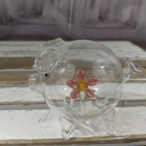 Ganz Pig Flower Glass Christmas Tree Ornament Holi